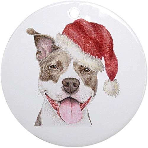 128 buyloii Christmas Pit Bull Terrier Ornament (Round) Holiday Christmas Ornament Holiday and Home Decor Round Xmas Gifts Christmas Tree Ornaments Ideas 2019