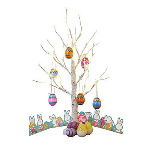 EAMBRITE Easter Centerpiece Tree 24IN 24LT White Birch Tree with Set of 10 Hanging Easter Egg Ornaments for Party Birthday Home Decoration Indoor Use