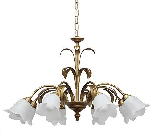 VALFB22121 SP8 OA Aurora Lustre classique à suspension fer forgé Vintage or/ambre antique 8 lumières verre étoile blanc