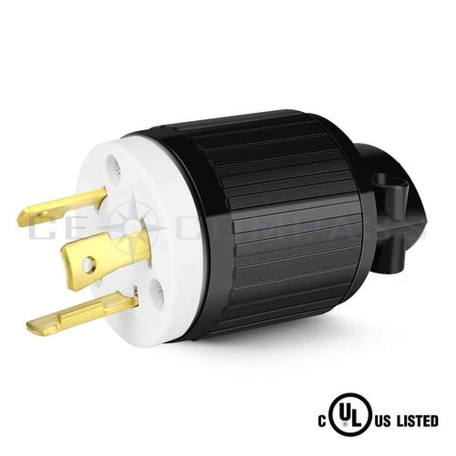 TNP NEMA L6-30P Twist Lock Electrical Plug 30 Amp 250 Volt 2 Pole 3 Wire 2P 3W Industrial Grade Locking Male Plug Connector Adapter Grounding for Generator, Transfer Switches RV Trailer, UL Listed