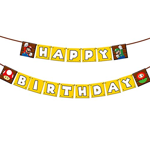 Super Mario Brothers Happy Birthday Banner, Mario Brothers Theme Banner For Kids Baby Party Decoration Supplies
