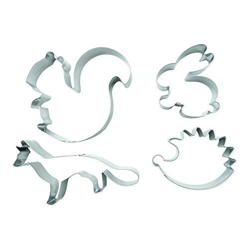 BekkiB - 880531 - Set di 4 formine per biscotti a forma di scoiattolo, volpe, riccio, coniglio, animali della foresta