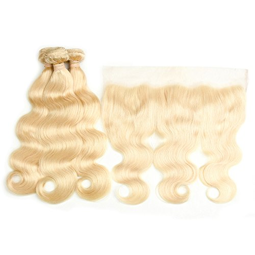 DACHIC 613 Blonde Human Hair 3 Bundles with Frontal 9A Brazilian Body Wave with Frontal 100% Virgin Human Hair Weave with Lace Frontal (12 14 16+10)