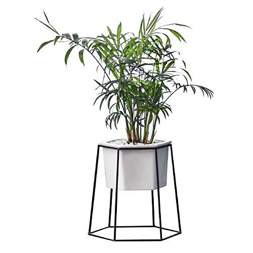 macetero de cerámica blanco geométrico con marco de metal hexagonal moderno macetero de jardín decorativo maceta jardín decoración de la oficina de mesa interior por yunhigh