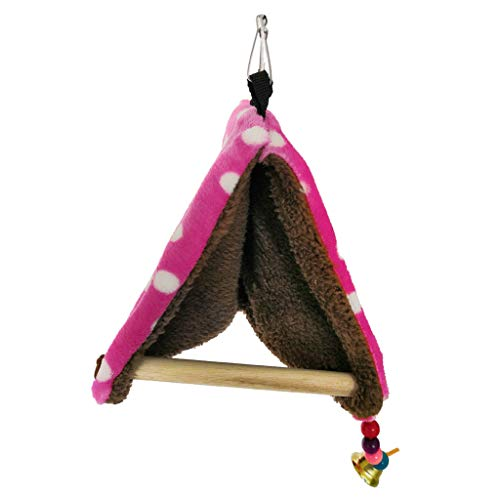 Kcnsieou Tela de felpa gruesa cómoda cálida cama nido de pájaros hamaca casa perca para loro, percha de percha canaria