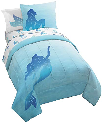 Jay Franco Disney The Little Mermaid Jewel 5 Piece Twin Bed Set - Includes Reversible Comforter & Sheet Set - Bedding Features Ariel - Super Soft Fade Resistant Microfiber (Official Disney Product)