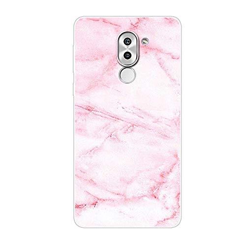 Aksuo for Huawei Honor 6X Hülle Silikon, TPU Silikonhülle Handyhülle Kratzfest Durchsichtige Stylisch Muster Design Robust Leicht Passgenau Case - Rosa Marmor