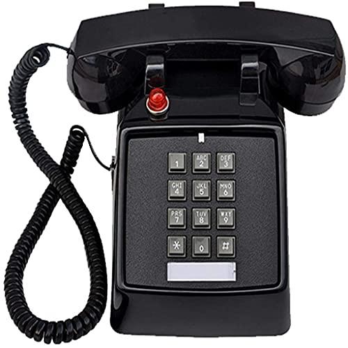Teléfono Fijo de la Vendimia Teléfono Retro Línea Fija Teléfono Teléfono de Moda Moda Reemplazo del teléfono para la decoración de la Oficina y de la Oficina (Color: Negro) (Color: Rojo)