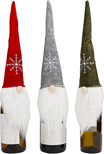 Weihnachts-Flaschenabdeckungen (3 Stück) – 45 x 13 cm Flaschenabdeckungen für Weingläser – Weihnachtsdeko Flaschen für Weihnachtsfeiern und Weihnachtsdeko Tischdeko – Schwedischer Zwerg