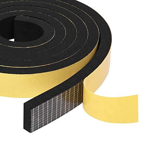 Foam Weather Stripping Tape 2 Rolls 3/4' W X 3/8' T, Neoprene Foam Rubber Seal for Door Frame Insulation, Sounproofing, 13 Ft Length (2 X 6.5 Ft Each)