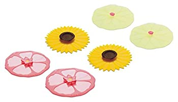 Charles Viancin Drink Covers or X-Small Lids - Set of 6 Hibiscus Sunflower and Lily Pad