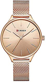 Curren 9024 Quartz Movement Round Dial Stainless Steel Strap Waterproof Women Watch - Rose Gold