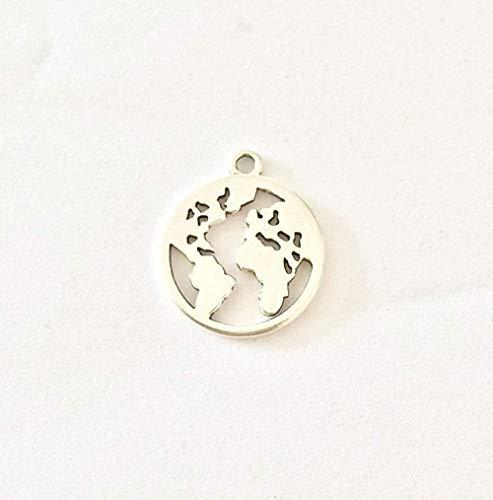 AOAOTOTQ Co.,ltd Collar Mapa Pulido Encantos de Monedas Collar de aleación de Zinc Pendiente Pulsera Joyería DIY Hecho a Mano
