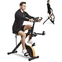 Urevo Foldable 3-in-1 Upright Indoor Bike Cycle/ Squat Machine/ Row & Ride Trainer with Resistance Bands