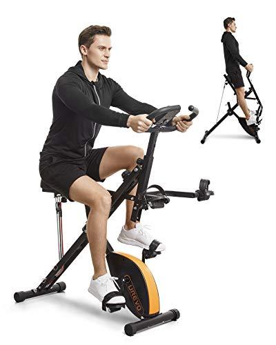 UREVO Stationary Exercise Bike Foldable 3 in 1 Magnetic...