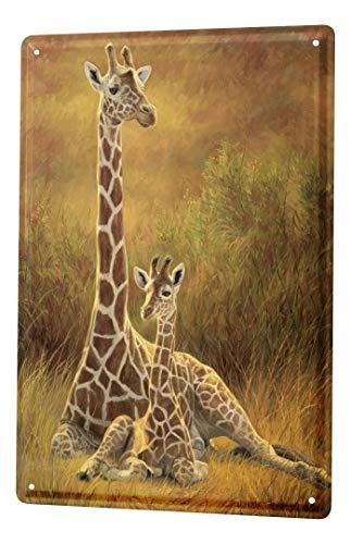 LEotiE SINCE 2004 Blechschild Dekoschild Küche Garage Afrika Giraffe Giraffenbaby Mutter Pflanzen Metall Deko Wand Schild 20X30 cm