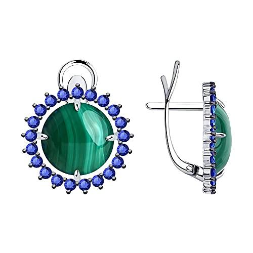 Mirkada - Pendientes de plata para mujer, con malaquita y circonitas, color verde
