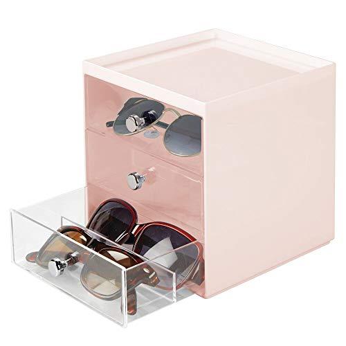 mDesign Caja para gafas de sol – Cajoneras de plástico con 3 cajones – Organizador de armarios para guardar todo tipo de gafas – rosa/transparente