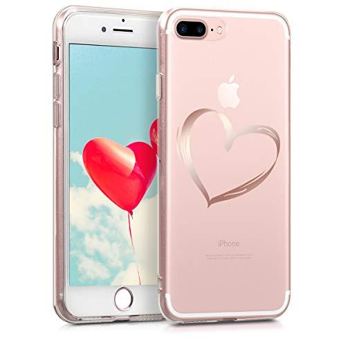 kwmobile Cover Compatibile con Apple iPhone 7 Plus / 8 Plus - Back Case Custodia Posteriore in Silicone TPU per Smartphone - Backcover Cuore Oro Rosa/Trasparente