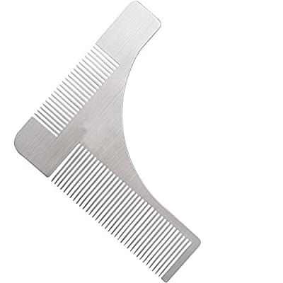 Beard Shaping Tool with Comb Stainless Steel Beard Styling & Shaper Template Grooming Kit Guide for Men,Facial Hair Trimmer for Jaw Line, Cheek, Neck & Goatee - Makes Perfect Razor Trimming Line