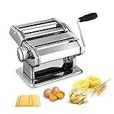 QAQA Máquina de Pasta Cafetera, Manual de Fideos Cortador de Acero Inoxidable Que Hace la máquina de Pasta Fresca Dough Roller for Espagueti y lasaña tallarines Fettuccine, 2 Cuchillas