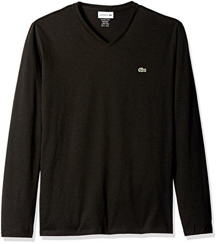 Lacoste Men's Long Sleeve Jersey Pima V-Neck T-Shirt, Black, XXXL