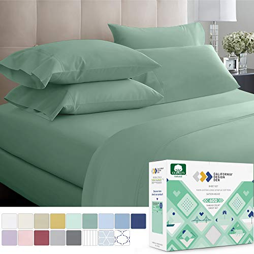 California Design Den 600 Thread Count 100% Cotton Sheets – Sage Extra Long-Staple Cotton Full Sheets, Fits Mattress 16'' Deep Pocket, Sateen Weave, Soft Cotton 4 Piece Bed Sheets Set