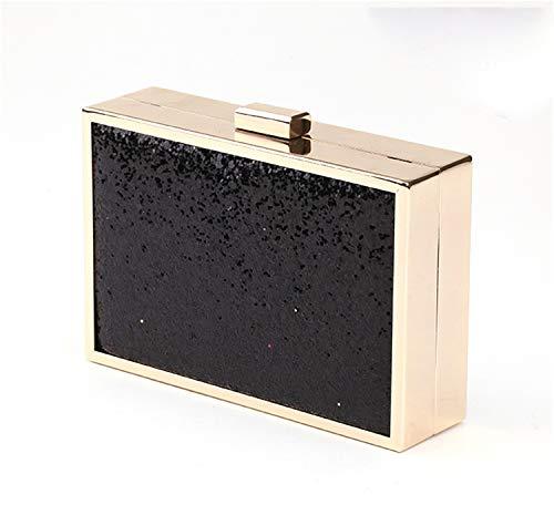 Road&Cool clutch clutch handtas met ketting zwart schoudertas dames goudglitter schoudertas metaal portemonnee avondeten zilver make-up tas (15 × 4 × 10 cm)