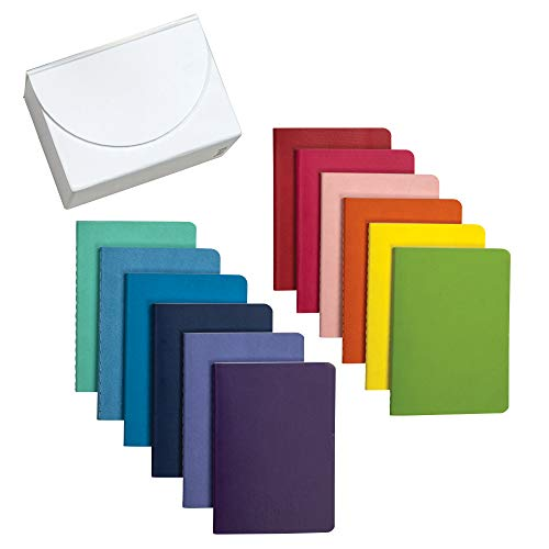 """Samsill 12 Pack Soft Cover Mini Journals 3.5"""" x 5"""" Gift Set, Assorted Rainbow Color and Has 32 Sheets, 64 Color Lined Pages with A White Storage Box (22333)"""