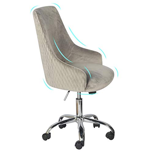 YDF Home Office Modern Water Texture Fabric Adjustable Backrest Cute Vanity Chair Executive Office Chair Grey