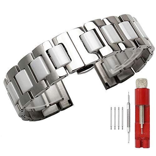 Kai Tian Correa reloj 20mm para niños Correas de reloj de acero inoxidable plateadas Reemplazo de correa de reloj de cerámica blanca
