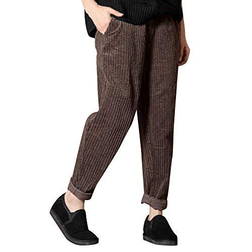 Manadlian Femme Pantalon en Velours Côtelé Pants Décontracté Sarouel Taille élastique pour Femmes Pantalon Femme Taille Haute