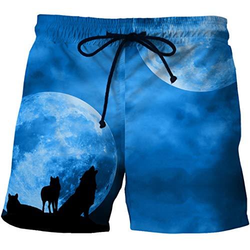 Mens Quick Dry Summer Beach Brett Boxershorts Trunks 3D Wolf Print Board Hip Hop Beach Wear Short 0087 L