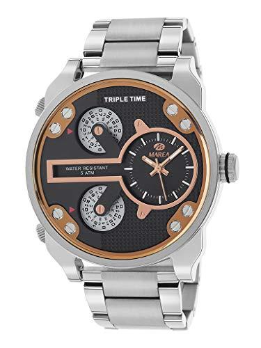 Reloj Marea Analógico Hombre B54150/3 Triple Horario, Armis Acero y Esfera Negra y Rosegold
