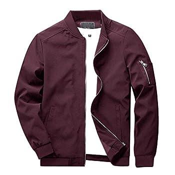 CRYSULLY Men s Windbreaker Casual Classic Slim Bike Motorcycle Coat Outwear Bomber Jacket Coat Red