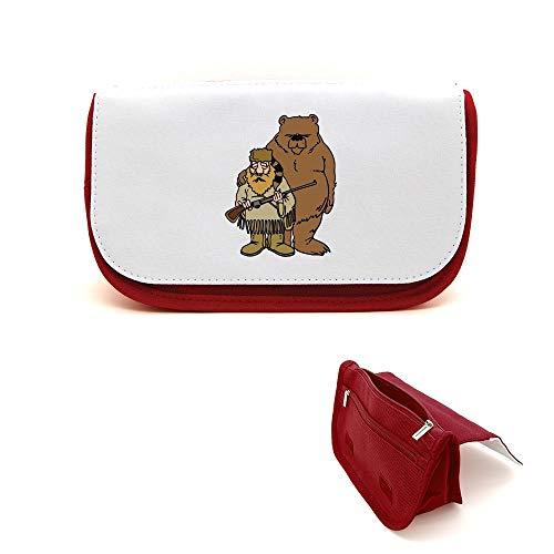 Mygoodprice Trousse de beauté étui maquillage ours et chasseur cartoon Rouge