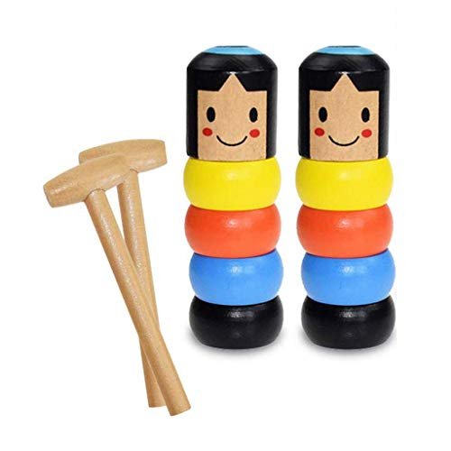 come2us Unbreakable Wooden Man Magic Toy(2 Set), Stubborn Wood Man Magic Trick Props Children Kids Magic Easy Doing Gift for Halloween Christmas