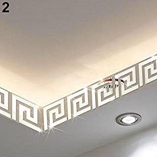 10Pcs Mirror Wall Stickers Removable Waistline Border Wall Decals Art DIY Home Office Wall Foot Line Wallpaper Borders Skirting Line Wall Art Ceiling Corner Stickers (Silver)