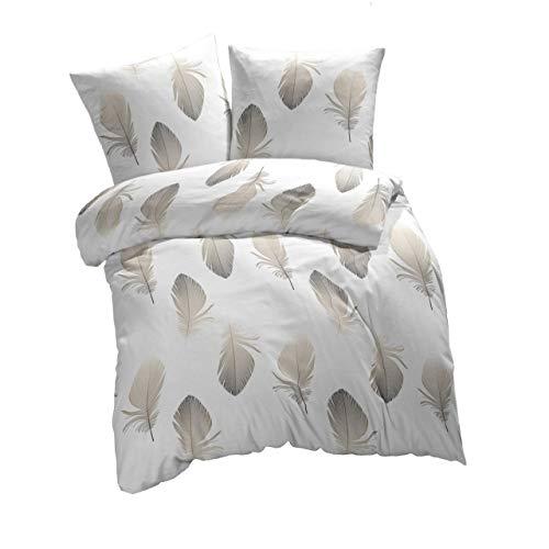 etérea Baumwolle Renforcé Bettwäsche - Federn - weich und angenehm auf der Haut, 2 teilig 155x220 cm + 80x80 cm, Weiß