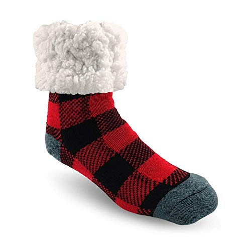 Pudus Lumberjack Red Cozy Winter Slipper Socks for Women and Men with...