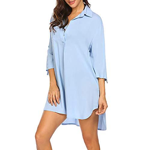 MRULIC Damen Langes einfarbiges T-Shirt mit kurzen Ärmeln und kurzen Ärmeln (XL, Blau)