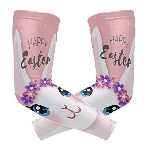 DXG1 - Conejo de Pascua con mangas rosadas para cubrir brazos, hombres y mujeres, protección UV, protección solar, protección solar, protección contra correr, golf, ciclismo, conducción, compresión larga, 1 par