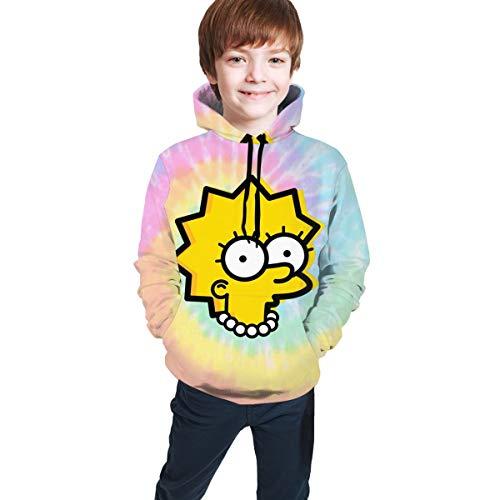 Lisa Simpson Kids Hoodies 3D Print Pullover Hooded Sweatshirts for Boys Girls Teen Black