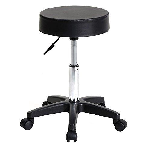 Rolling Stool with Wheels PU Leather Comfortable Swivel Bar Stool Chair Adjustable Salon Tattoo Massage Shop Work Stool (13' x 13' x (18.11'-24'), Black)