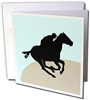 3dRose Horse Racing - Greeting Cards, 6 x 6 inches, set of 6 (gc_25986_1)
