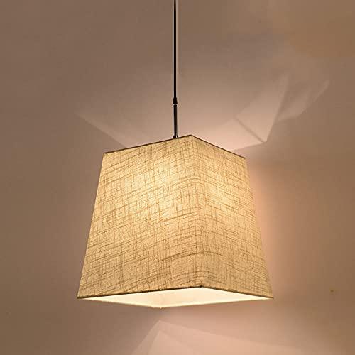 NAMFHZW - Lámpara de techo de lino natural colgante ligera con lámpara cuadrada de techo, 1 luz, lámpara colgante ajustable en altura luminaria simple para entrada de mesa de comedor