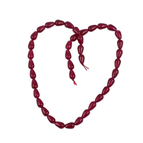 Hellery 6x9mm 15'Hebra de Perlas Jade Rojo Perlas Sueltas Accesorio Joyas