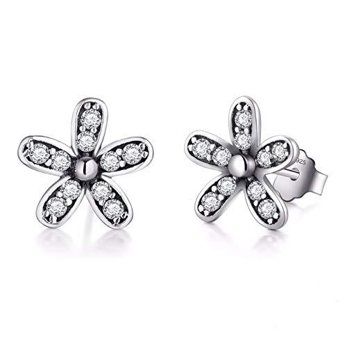 KGDUYH Pendientes de tuerca de plata de ley 925 con diseño de flor, de lujo, con circonita cúbica, para mujer, joyería vintage para decoración