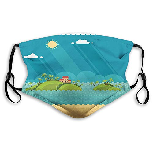 Fashion 3D Face_mask_Protect Printed Gesichts-Mund-SchutzFeline Tropical Summer Vacation Concept with Flat Design Palm Trees Islands in The Ocean s