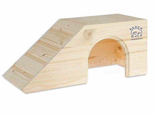 Resch Nr01 Meerschweinchenhaus naturbelassenes Massivholz aus Fichte/mit großem Eingang und Treppe zum Dach/zum Spielen und Klettern